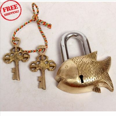 Vintage Old Antique Style Brass Handcrafted Fine Fish Shape Pad Lock With Key