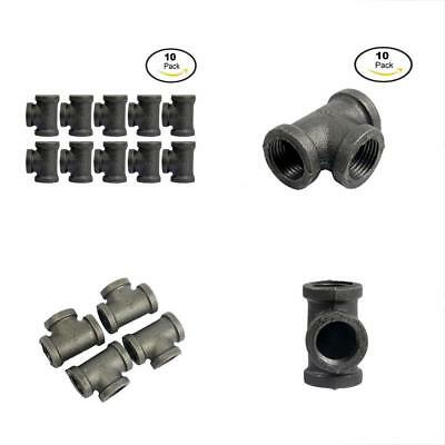 YaeTek Tee, Black, 1/2-Inch Cast Iron Malleable Pipe Fitting Class 150 10 Pack
