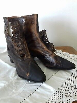 Genuine Antique Leather Victorian Vintage Small Childs Girls Button Boot Shoes