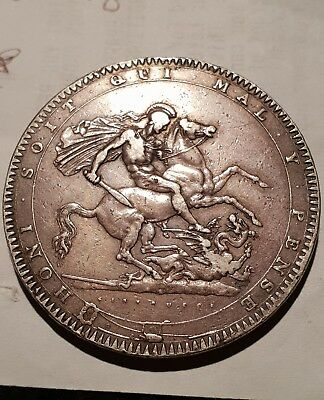 1819 BRITISH GEORGE III STERLING SILVER CROWN COIN LX No Stop