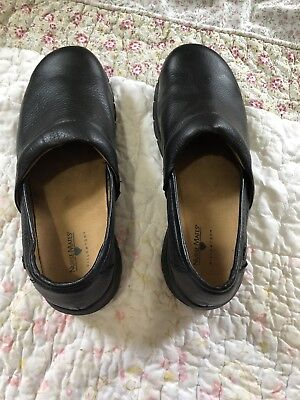 387efb570fc50 Nurse Mates Libby Premuim Leather Black Medical Nurse Clogs Slip On Shoes  Sz 9 W