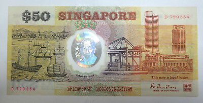 Singapore $50 polymer Commemorative banknote 1990 25th anniv, AUNC fifty dollars