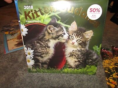 New 2018 Calendar 18 Month July 17 - Dec 18  Plato Kitten Cuddles Color Nice