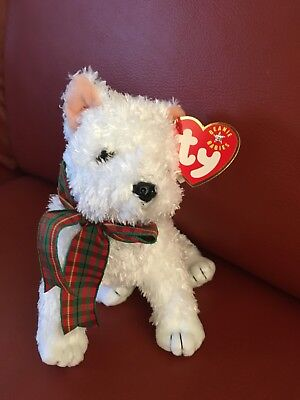 Ty KIRBY West Highland White Terrier Beanie Babies Dog with Tags and Collar