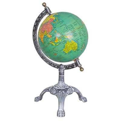 Antique Style Green Ocean Rotating Metal Stand World Map Globe Atlas Geography