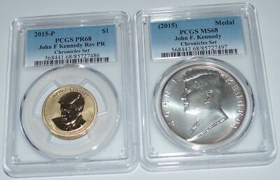 2015 Kennedy Chronicles Set $1 Reverse PR68 & Silver Medal MS68 PCGS