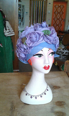 Vintage rose petal hat-Lilac 2 tone coloured roses with the odd sprig of leaves