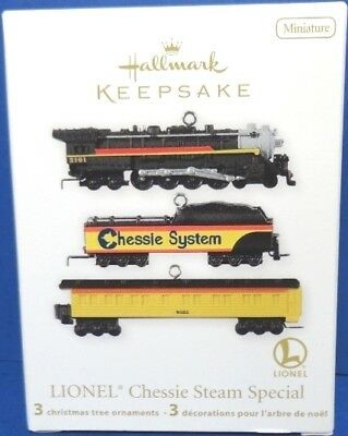 2012 Lionel Chessie Steam Special Hallmark Miniature Train Ornament Set/3