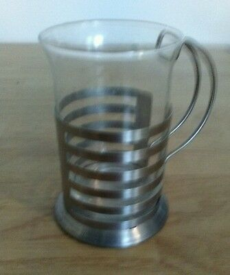 Antique~Vintage Metal Cup With Glass Insert
