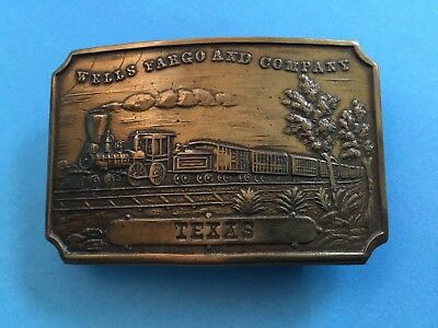 Wells Fargo & Co. Brass Texas Belt Buckle, Marked Tiffany New York
