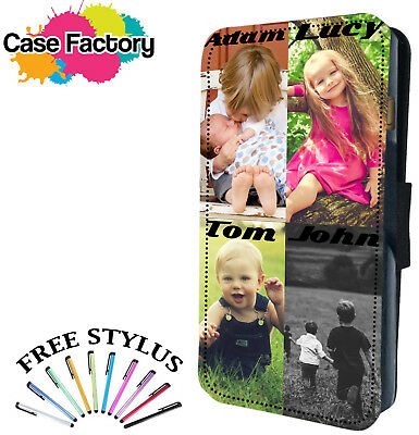 Personalised Leather Flip Case Cover With Custom Picture Photo Collage And Text
