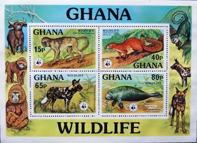 GHANA 1977 Block 71 S/S 625 Wildlife Protection WWF Animals Fauna Tiere MNH