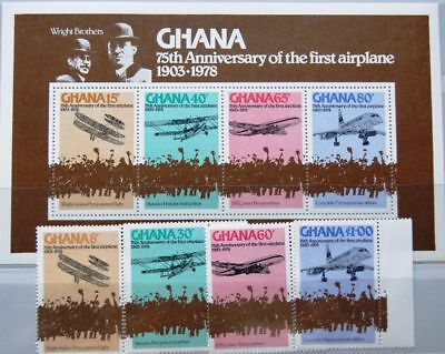 GHANA 1978 738-41 A Block 75 A 650-654 Wright Brothers Aviation Flugzeuge MNH