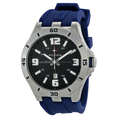*BRAND NEW* Tommy Hilfiger Men's Analog Blue Dial Blue Silicone Watch 1791062