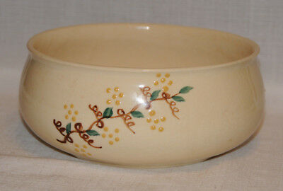 BRUSH MCCOY U.S.A. ART WARE POTTERY BOWL HAND PAINTED VINES 8 Inches