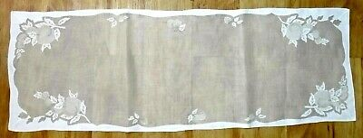 """Madeira Embroidery Fruits Organdy Linen Table Runner 43"""" - Taupe & Off White VTG"""