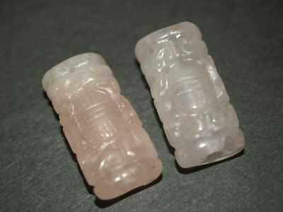 PAIR of Vintage Carved Chinese Pink Natural Rose Quartz Large Beads 32mm x 15mm