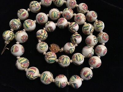 CHINESE VINTAGE HAND PAINTED PORCELAIN 14mm ROUND BEADS NECKLACE FILIGREE CLASP