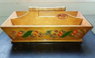 Vintage Wooden Knife Box Cutlery Tray Tote Utensil Carrier Divided Toil Ware