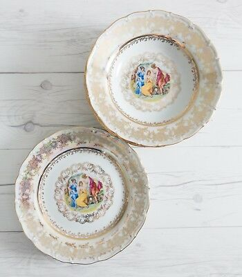 Antique Czech Porcelain Dalovice Plates and Bowls Bohemian Ceramic Dinnerware