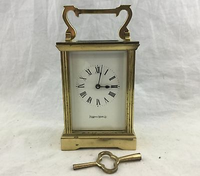 Antique Mappin & Webb Brass Carriage Clock Glass Panels Carrying Handle Key W...