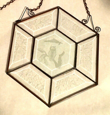 Beautiful Beveled Edge Glass Engraved Owl Window Stained Glass Art Copper 5