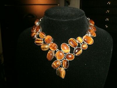 necklace SET tigers' eye Silver Plated  Cleopatra cluster bib adjustable