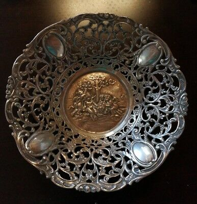 antique 1900s German solid 800 silver reticulated Pierced repousse bowl cherubs