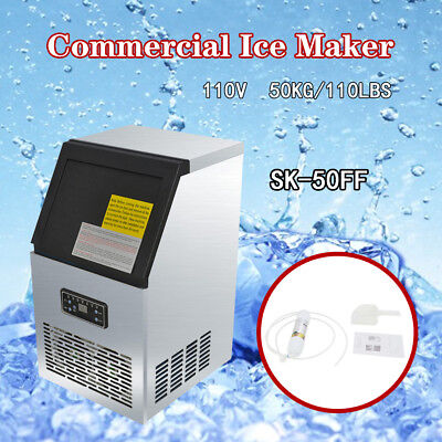 Top Ice Cube Machine Commercial Ice Maker 50kg Auto 110Lbs 230W 110V Restaurant