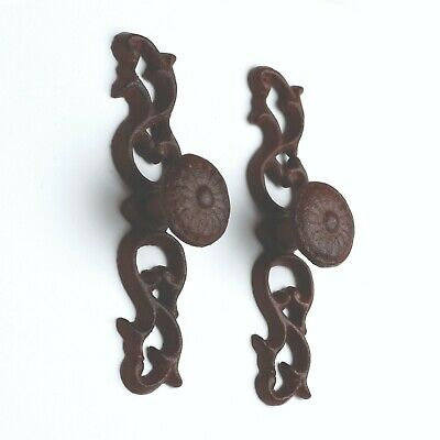 Cast Iron Rustic Door Antique Pull Style lot of 2 Size 5.38 x 0.38 x 1.88