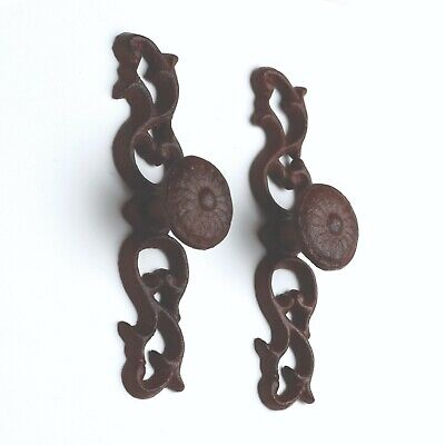 Fancy Cast Iron Antique Drawer Handle Door Pull Rustic Ornate Cabinet Hardware
