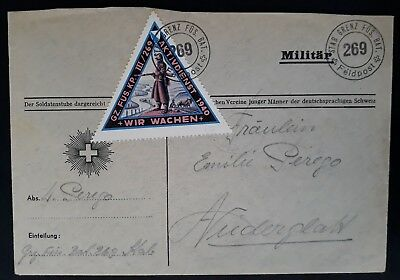 RARE c. 1939 Switzerland Military Cover ties Soldier's stamp Stab.Grenz.Fus 269