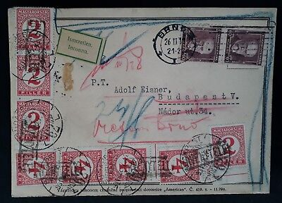 "RARE 1931 Czechoslovakia Postcard ""Unknown"" ties 10 stamps Taxed to Hungary"