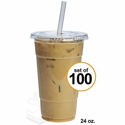 100 Sets 24 Oz. Plastic CRYSTAL CLEAR Cups With Flat Lids Cold Drinks, Iced Tea,