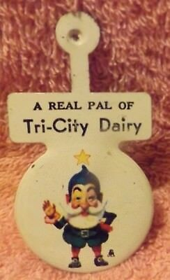 Vintage Advertising Metal Pocket Pin / Tag marked A REAL PAL OF TRI-CITY DAIRY