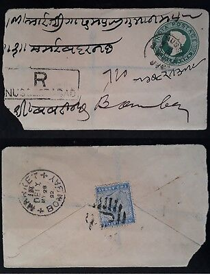 SCARCE 1892 India Registd Cover & Letter ties 2 QV stamps to Bombay