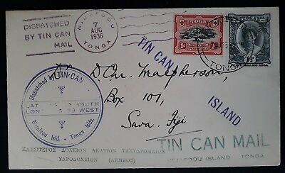 SCARCE 1936 Tonga Tin Can Canoe Mail  Cover ties 2 stamps canc Niuafo'ou
