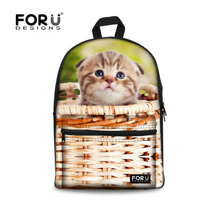 Back To Schoolbags Cute Cat Prin Backpack For Girls Ladies Shoulder Satchel New