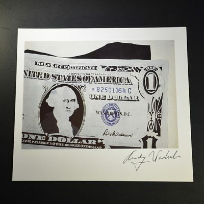 "Andy Warhol, ""One Dollar Bill"", Print from VIP Book. Hand signed by Warhol, COA."