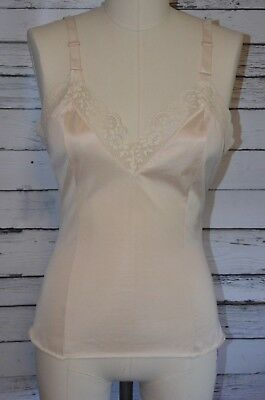 Vintage Komar Ivory Camisole Chemise Lacy Lingerie Size 34 Fitted