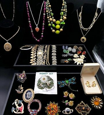 Tray 113 is a 34 Piece Vintage Costume Jewelry Lot of Nice Variety - Some Signed