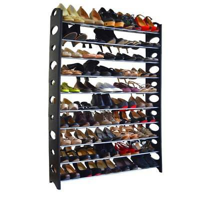 Wall Bench Organizer For 50 Pair Storage Box Shelf Closet Shoe Rack 10-Tier