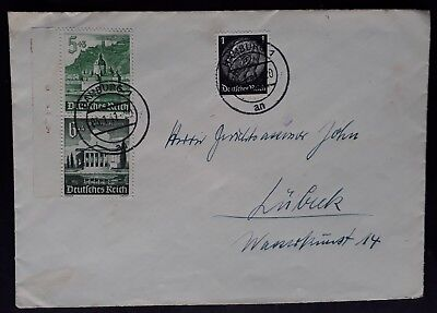 RARE 1941 Germany Cover ties 3 stamps inc Castles booklet pair canc Hamburg
