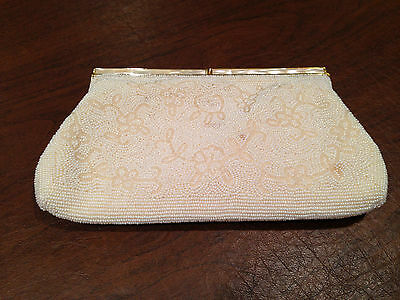 Vintage MAGID White Beaded Floral CLUTCH PURSE Faux Mother of Pearl clasp EUC