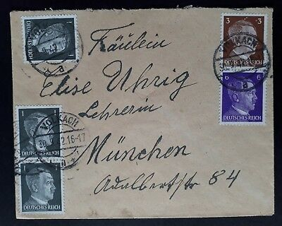 RARE 1942 Germany Cover ties 5 Fuhrer stamps cancelled Volkach to Munich