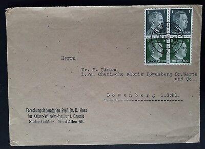 RARE 1942 Germany Cover ties block of Fuhrer se-tenant stamps canc Berlin