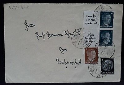 RARE 1941 Germany Cover ties 4 Fuhrer &Hindenburg stamps with tabs cnc Bornstedt