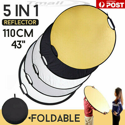 "5 in 1 43"" /110cm Photography Mulit Collapsible Disc Reflector Handle KIT+CASE"
