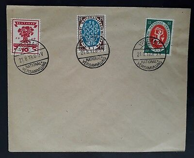 RARE 1919 Germany Cover ties 3 Weimar National Assembly stamps w caches
