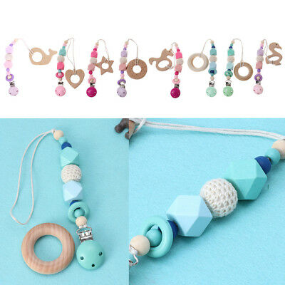 Baby Dummy Clips With Beech Wooden Teether Kids Pacifier Chain Teething Chew Toy